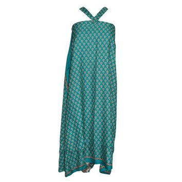 Mogul Magic Wrap Skirt Green Floral Print Premium Reversible Silk Sari Two Layer Sarong Dress - Walmart.com