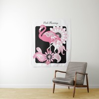 Pink Flamingo Girly Cute Personalized Black Tapestry