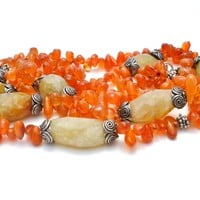 Sterling Silver Carnelian Calcite Gemstone Necklace Vintage