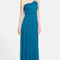Way-In Embellished One-Shoulder Mesh Gown (Juniors)