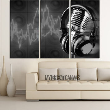 Music Studio Canvas Print - Headsets and Microphones Art Canvas Printing - Framed - Gicle - Wrapped Gallery - MC135