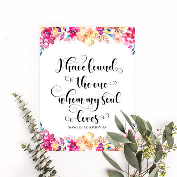Song of Solomon 3:4 wall art, I have found the one whom my soul loves sign, Christian art gifts, Christian wall decor, Christian artwork