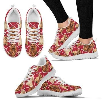 Cocker Spaniel Dog In Red Boxes Print Running Shoes For Women-Free Shipping