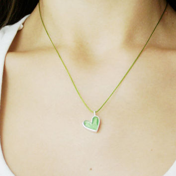 Green  silver heart necklace, small silver and resin heart pendant on a green cord, minimalist, designer heart necklace