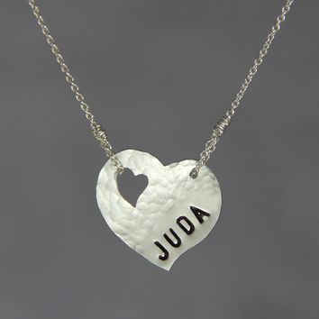 Personalized sterling silver name monogram heart pendant necklace copper Bridesmaids gifts Free US Shipping handmade Anni Designs