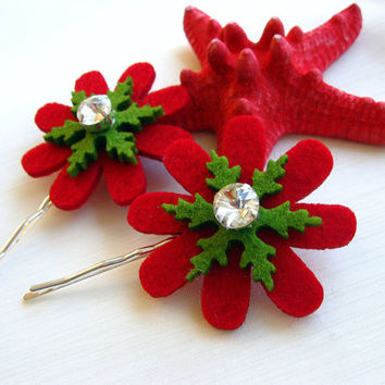 Green and Red Flower Bobby Pin Set Felt Snowflakes with evil eye bead