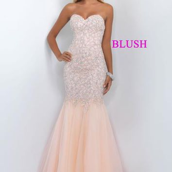Strapless Fitted Blush Dress 11045
