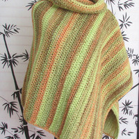 Womens Cowl Neck Poncho, Rainforest Colors, Cape Cowl Neck