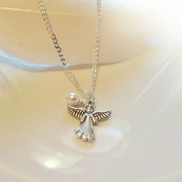 Spiritual Guardian Angel Necklace Memorial Angel on Sterling Silver Chain Remembrance