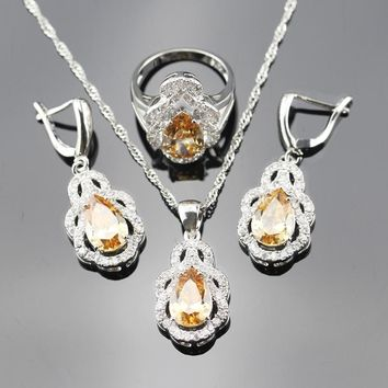 New Arrival Fashion Jewelry Sets For Women Yellow Orange Morganite Silver Color Necklace/Earrings/Rings/Pendant js25