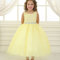 Yellow Satin and Tulle Flower Girl Dress