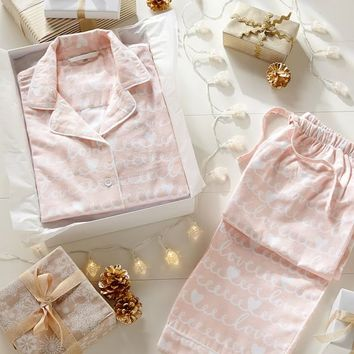 Loops-A-Lot Flannel Pajama Set, Peach