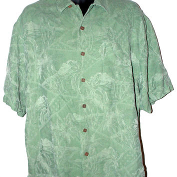 Hawaiian Green Silk Large Shirt Button SS Montego Mon Hula Girl Palm Trees