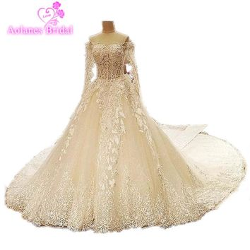 2017 Real Photos Luxury Lace Appliques Crystals Royal Train Bridal Dress Special Long Sleeves Ball Gown Lace Up Wedding Dresses