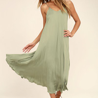 Lasting Memories Washed Olive Green Midi Dress