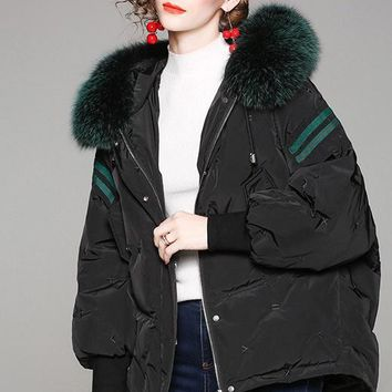 Mink Fur Hooded Down Jacket