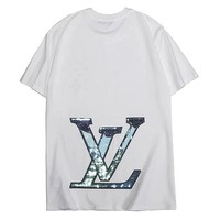 LV 2019 new behind the big beads piece embroidery letter reflective logo round neck half sleeve shirt white