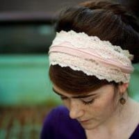 VIntage Trimmed Stretch rose headcovering hair by GarlandsOfGrace