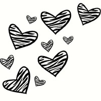 "Wall Decor Plus More WDPM247 Zebra Heart Wall Vinyl Sticker Decals for Room Decor 10Pc 8"" to 2"", Black"