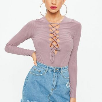 Missguided - Mauve Lace Up Front Bodysuit