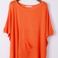 Whole Color Batwing Sleeve Sweater