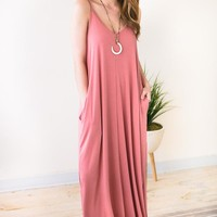 Temperature Rising Tank Maxi Dress - Rose