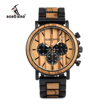 BOBO BIRD P09 Wood and Stainless Steel Watches Luminous Hands Stop Watch Mens Quartz Wristwatches in Wooden Box