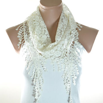 Lace Scarf Ivory Off White Scarf Lace Fringe Scarf Triangle Scarf Fringe Shawl Lace Headband Fashion Accessory Women Accessory Christmas