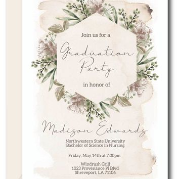 Greenery Graduation Invitations