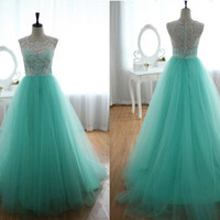 Turquoise Prom Dress, A Line Sweetheart Tulle Lace Prom Dress / Evening Dress