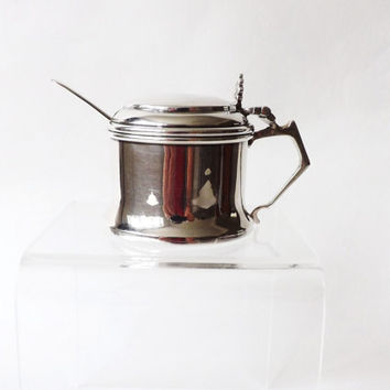 Sterling Silver Condiment Pot and Spoon, Master Salt, Mustard Pot, Silver Serveware, Wedding Gift, Wedding Top Table, Formal Dining