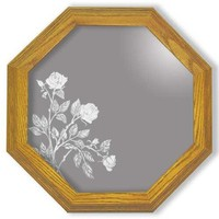 Decorative Framed Mirror Wall Decor With Rose Flower Etched Mirror - Rose Flower Decor - Unique Rose