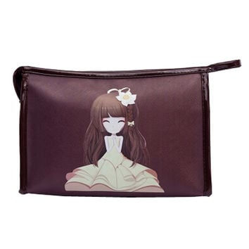 Personalized Handbag Makeup Pouches Cosmetic Bags Makeup Bags, Brown