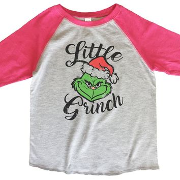 Little Grinch BOYS OR GIRLS BASEBALL 3/4 SLEEVE RAGLAN - VERY SOFT TRENDY SHIRT B612