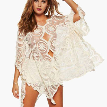White Floral Lace Cut-Out Cover-up