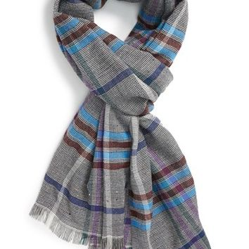 Men's Etro Plaid Wool, Cotton & Silk Scarf - Blue