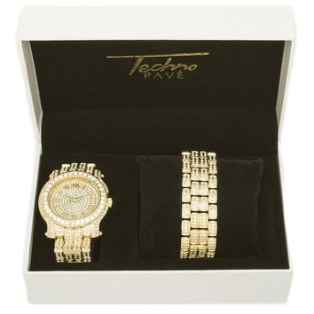Jewelry Kay style Men's Iced Out 14k Gold / Silver Plated Heavy Bezel Watch & Bracelet Set 7341