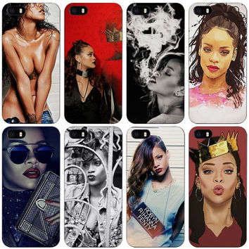 Robyn Rihanna Fenty Black Plastic Case Cover Shell for iPhone Apple 4 4s 5 5s SE 5c 6 6s 7 Plus