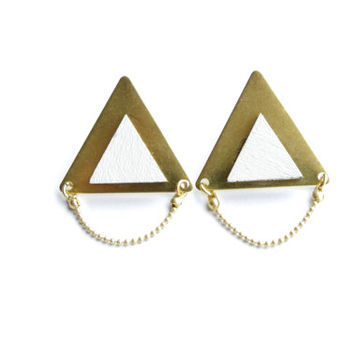 White Geometric earrings -Triangle Geometric Earrings / Studs - Laser Cut Wood Metal Geometric Jewellery - Small colorful statement earrings