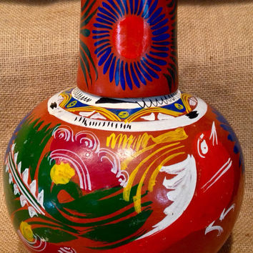 Handpainted Mexican water vessel with cup