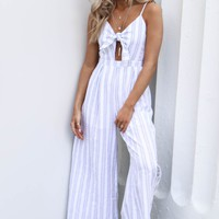 New Places Striped Linen Jumpsuit