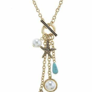 Shell, Pearl & Charm Necklace & Earring Set-In Stock
