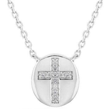 """925 Sterling Silver Small Clear CZ Catholic Medal Cross Necklace Children's 16"""""""