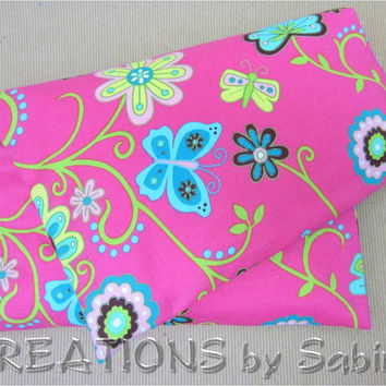 Heating Bag, Microwave Corn Pillow, Therapy Corn Pack, Hot Cold Pad with washable cover pink flowers dragonfly butterfly READY TO SHIP (148)