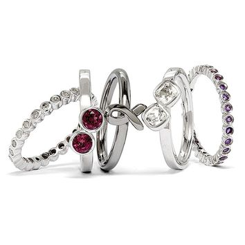 Sterling Silver BlackPlated Awareness Ribbon & Gemstone Stack Ring Set