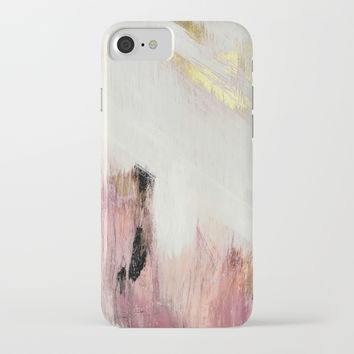 Sunrise [2]: a bright, colorful abstract piece in pink, gold, black,and white iPhone Case by blushingbrushstudio