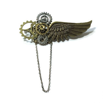 Steampunk Brooch ,  Winged Pin Gear Brooch  , Chained Steampunk Brooch ,  Cog Steampunk Pin , Victorian Steampunk Brooch