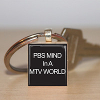 $6.75 Scrabble Tile Keychain PBS Mind In A MTV World by IncrediblyHip