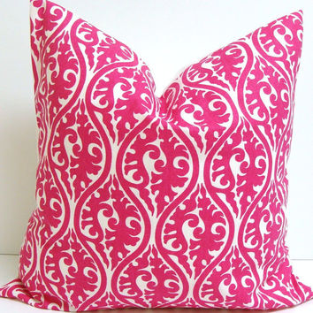 PINK PILLOW SALE.Damask.18x18 inch Decorator  Pillow Cover.Printed Fabric Front and Back.Hot Pink.Bright Pink.Pillow.Housewares