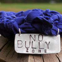 Anti-Bully School GIRL'S Jersey Bracelet-Distressed PURPLE Fabric w/ Silver Metal Charm-Silver Chain Bracelet